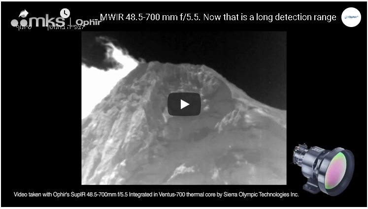 Live demo video: Ophir's Long-Range MWIR 48.5-700 mm f/5.5. Now that is a long detection range!!