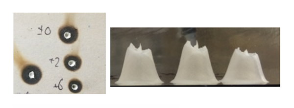 Figure 2. Example of drywall (left) and acrylic mode burn