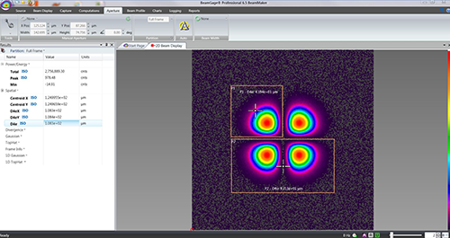 BeamGage Professional partitions with multiple beams on one display with individual results.